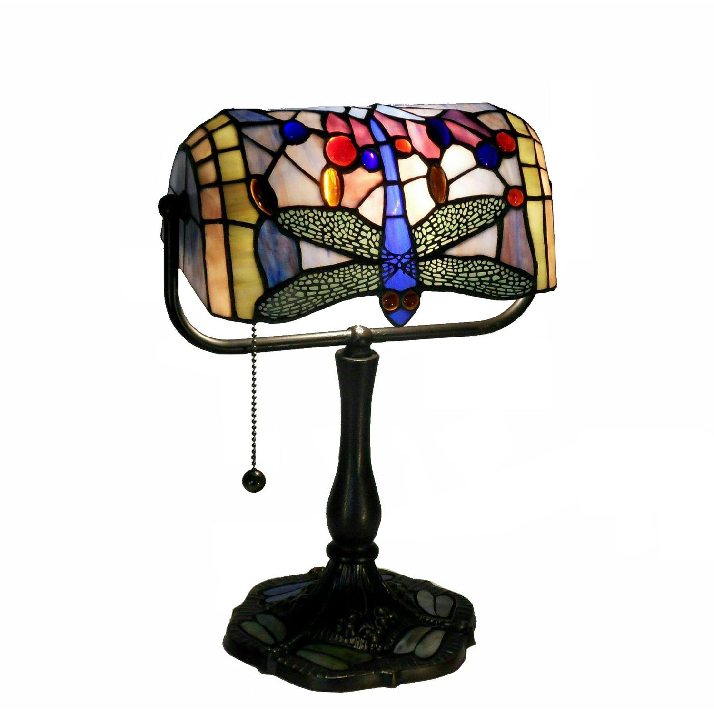 Indoor 1-light Dragonfly Bronze Banker Desk Lamp