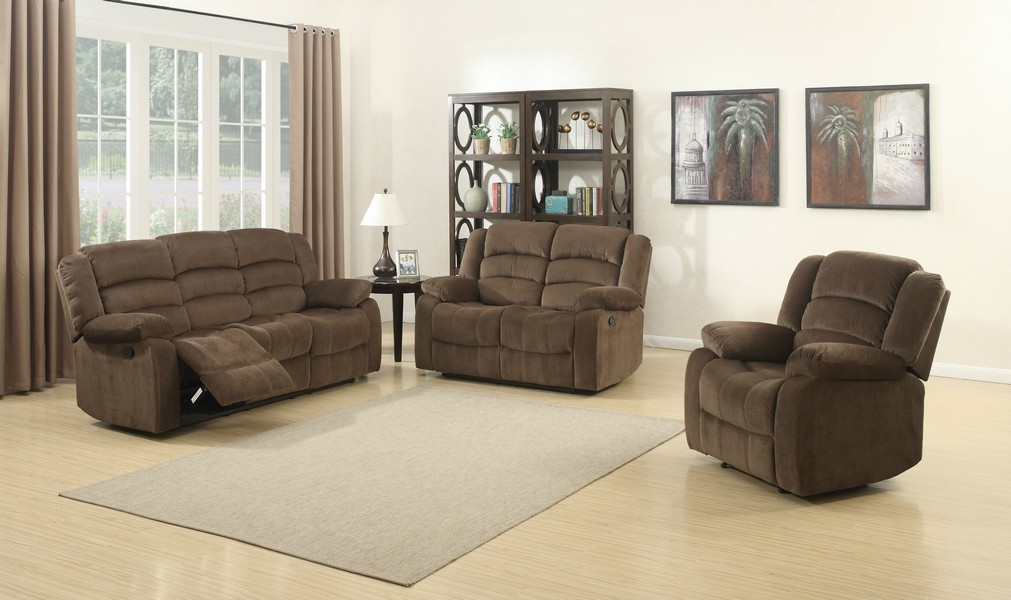 Brown 3 Piece Contemporary Polyester Reclining Living Room Set