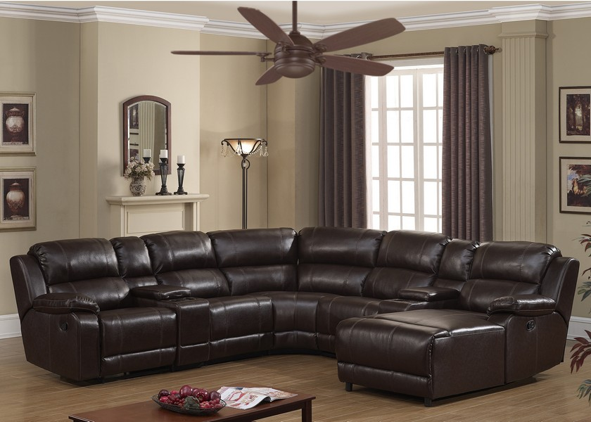 Dark Brown 7pc Transitional Sectional wrapped in Reconstituted Leather