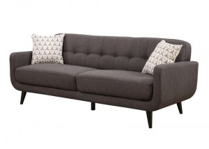 Charcoal Mid-Century Polyester Fabric Sofa
