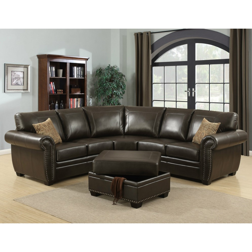 Brown 3 Piece Traditional Leather-Like Fabric Living Room Sectional with Ottoman