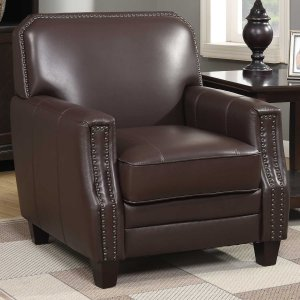 Brown Full Grain Leather Club Arm Chair