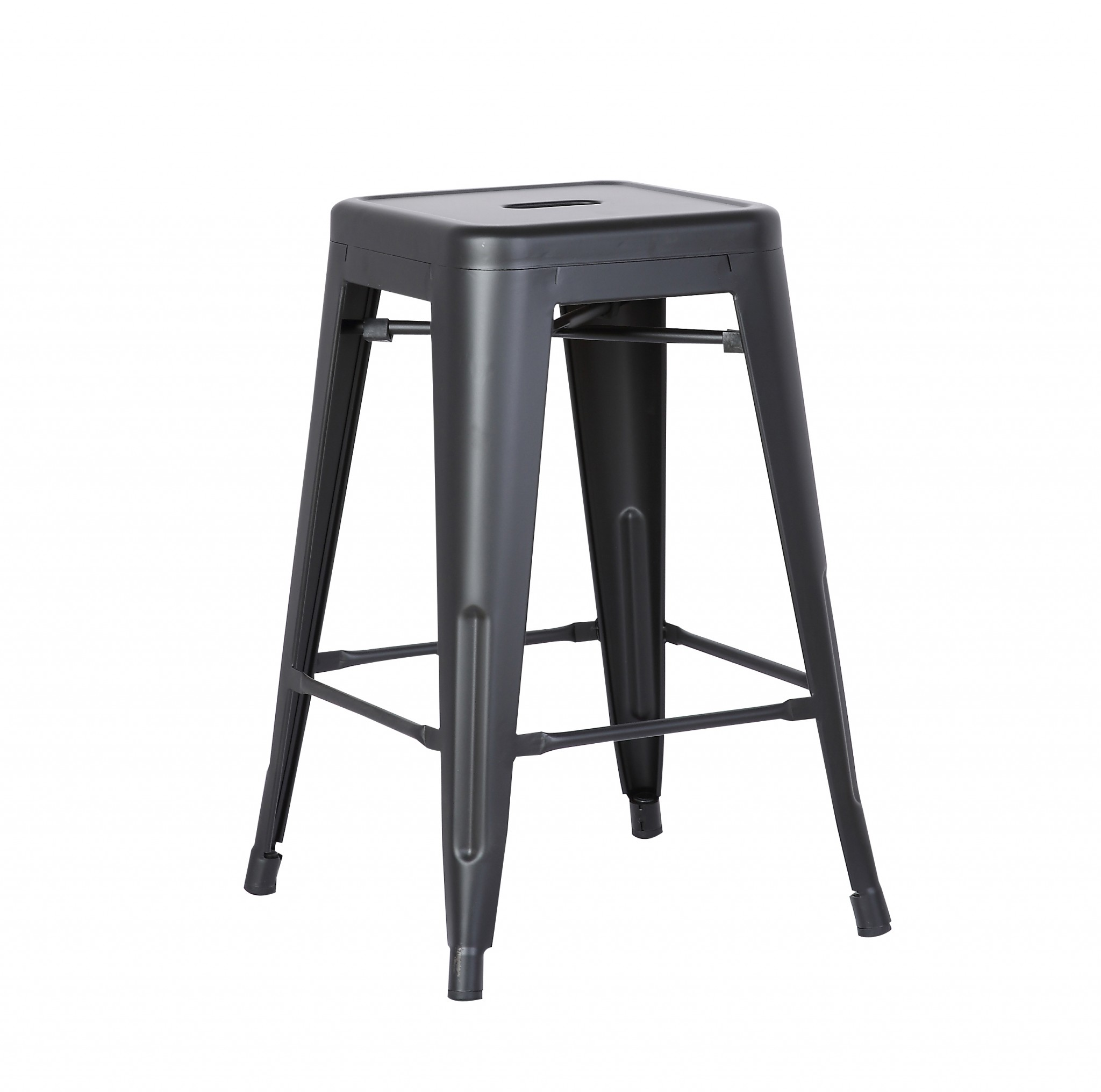 "24"" Matte Black Backless Metal Barstool With a Set of 2"