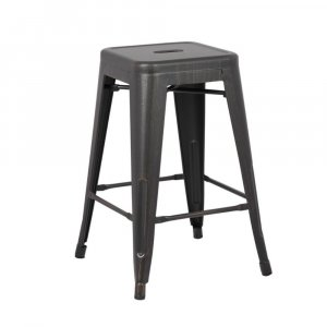 """24"""" Distressed Black Backless Metal Barstool With a Set of 2"""