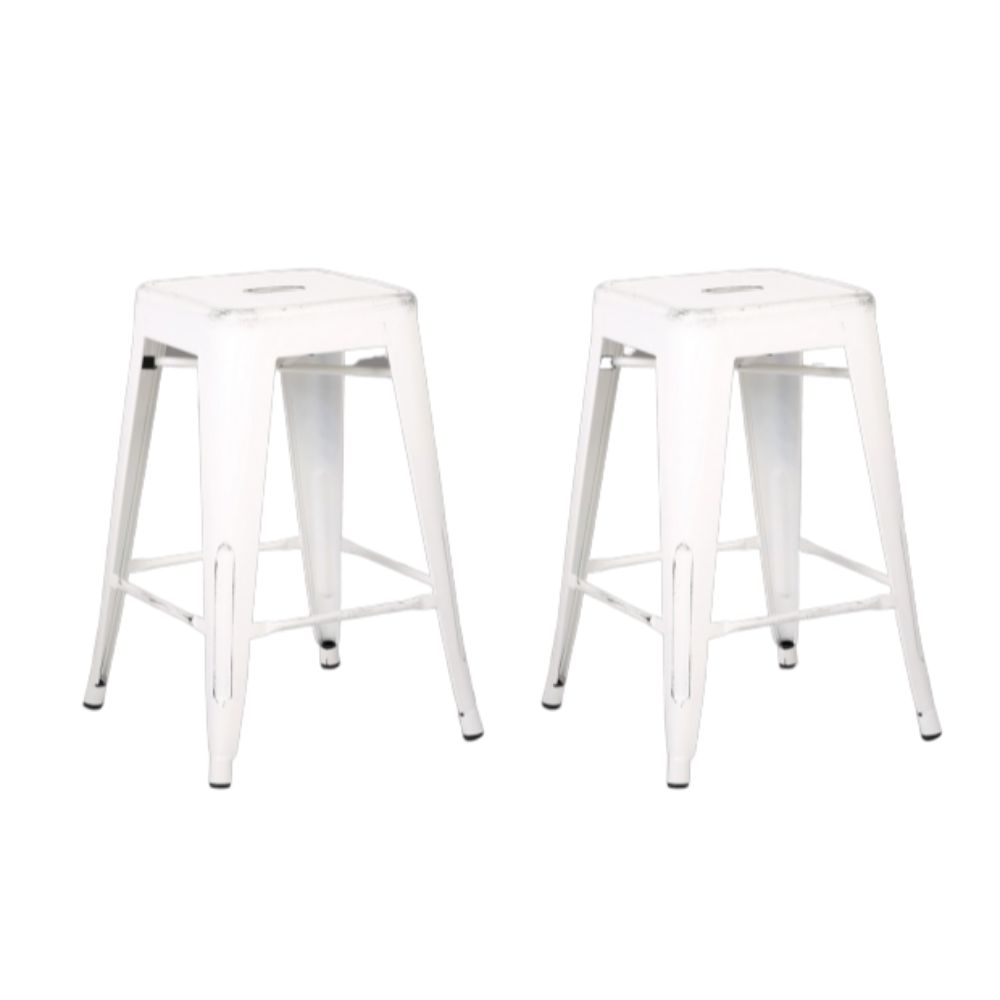 "24"" Distressed White Backless Metal Barstool With a Set of 2"