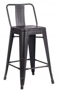 """24"""" Matte Black Distressed Metal Barstool with Back In A Set of 2"""