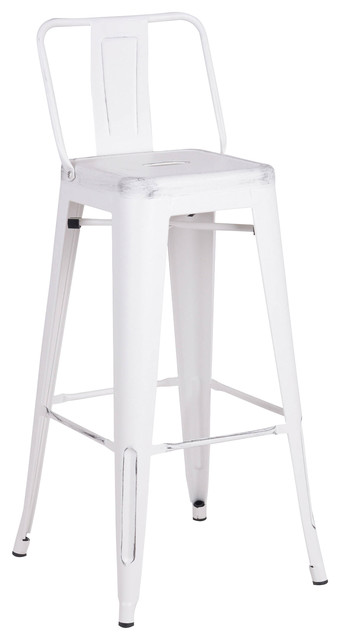 "24"" White Distressed Metal Barstool with Back In A Set of 2"