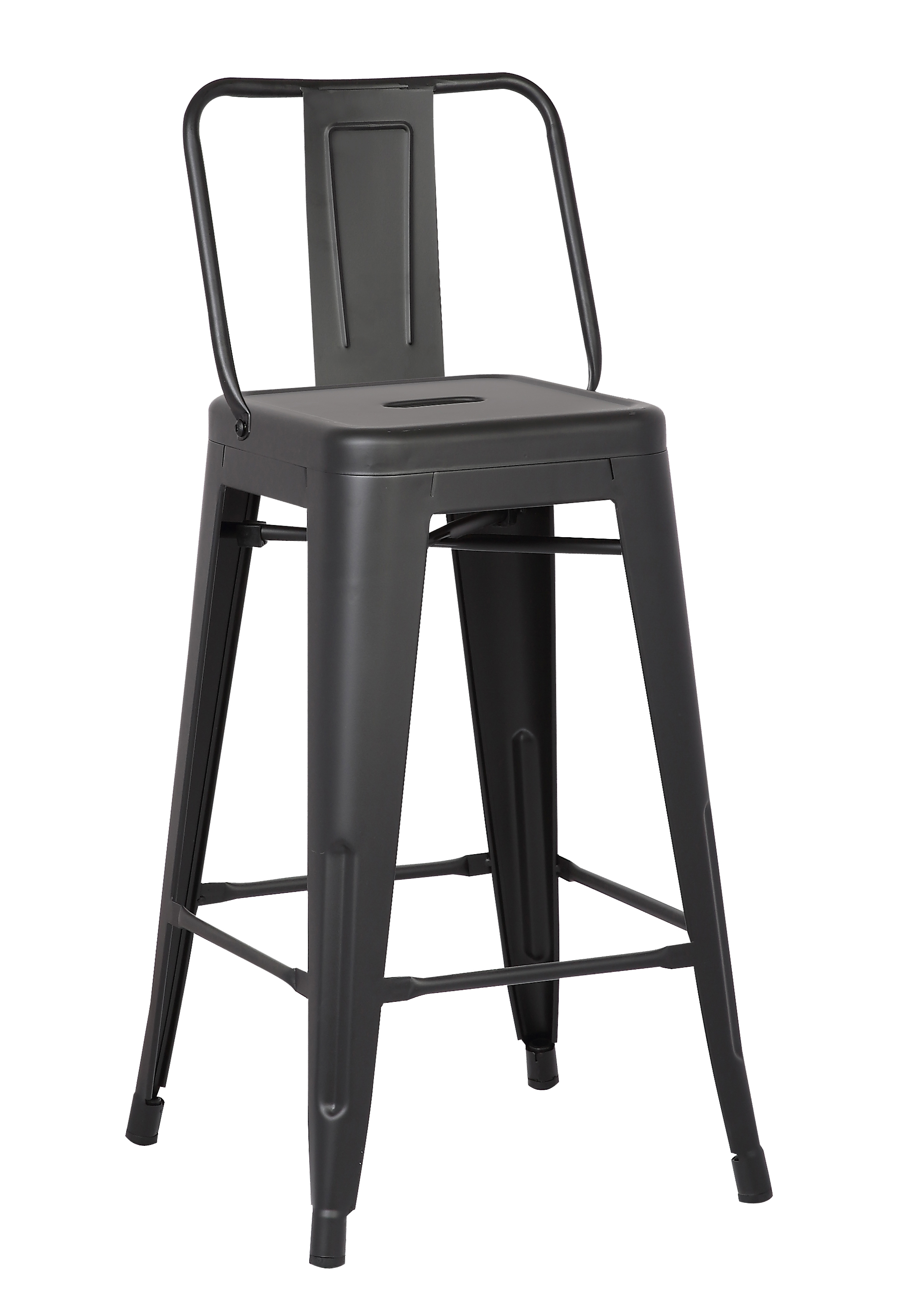 """30"""" Matte Black Metal Barstool with Back In A Set of 2"""