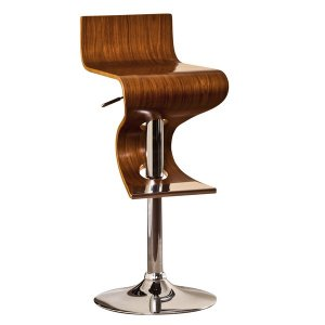 Modern Swivel Adjustable Barstool With Curved Seat And Back