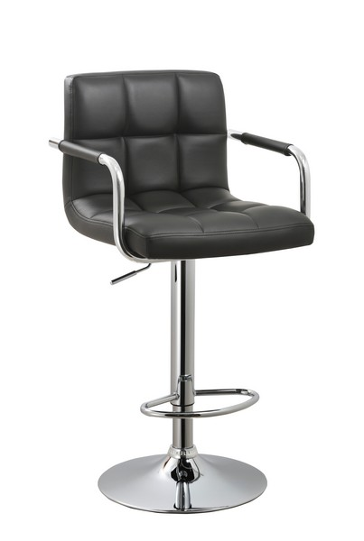 Black Contemporary Swivel Adjustable Arm Bar Stool with Cushion