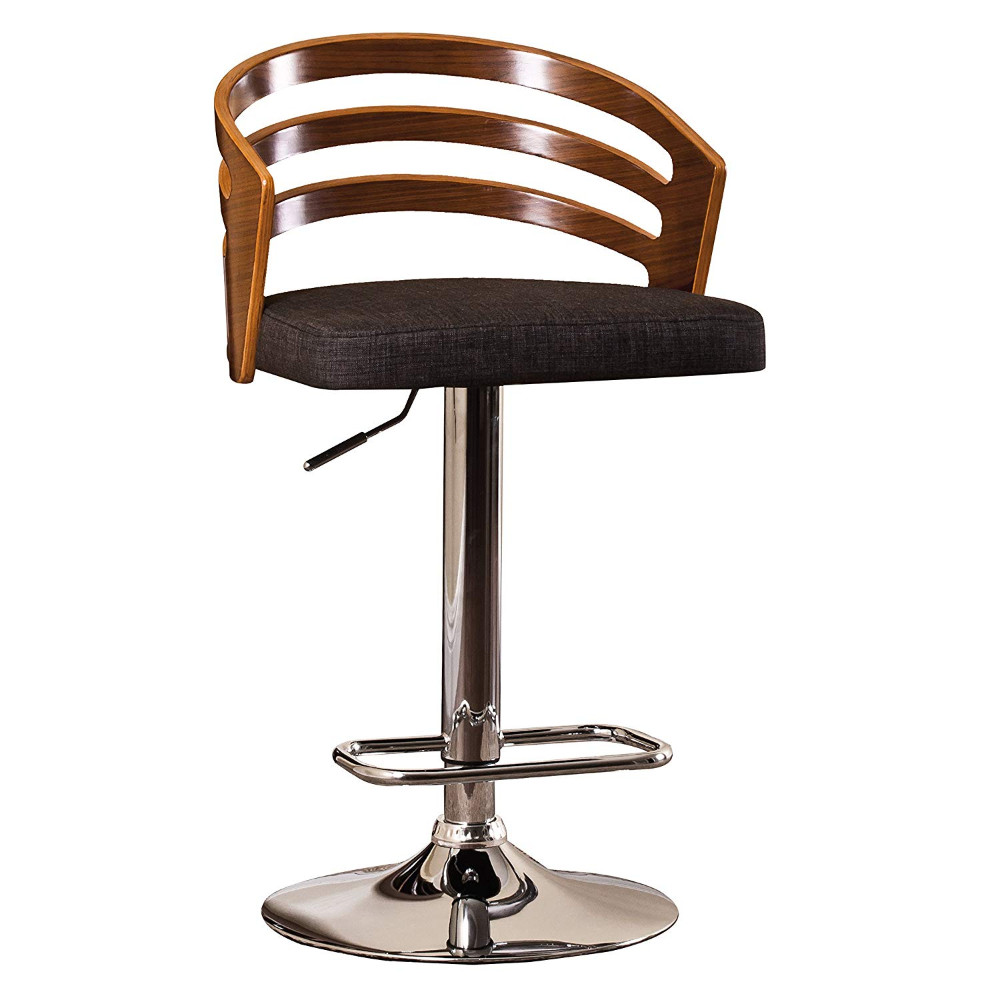 Black Modern Wood Back Adjustable Swivel Barstool with Cushion