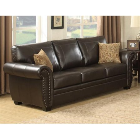 Brown Traditional  Leather-Like Fabric  Stationary Sofa
