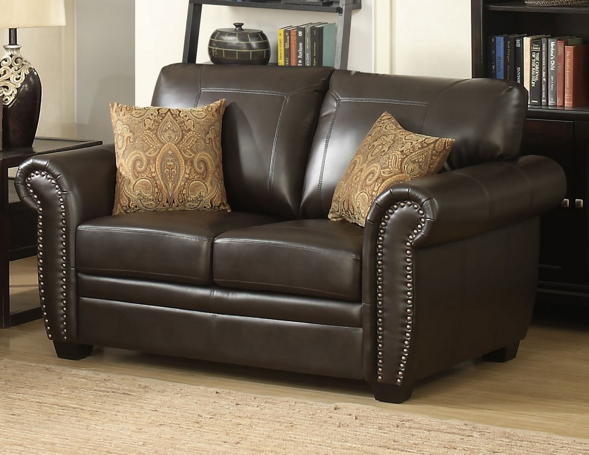 Brown Traditional Leather-Like Fabric Stationary Loveseat