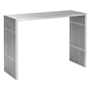 """42.8"""" X 15.5"""" X 31.8"""" Brushed Stainless Steel Console Table"""