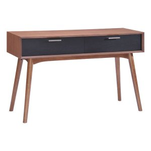 """47"""" X 15.7"""" X 29.5"""" Walnut And Blk Wood Console Table"""
