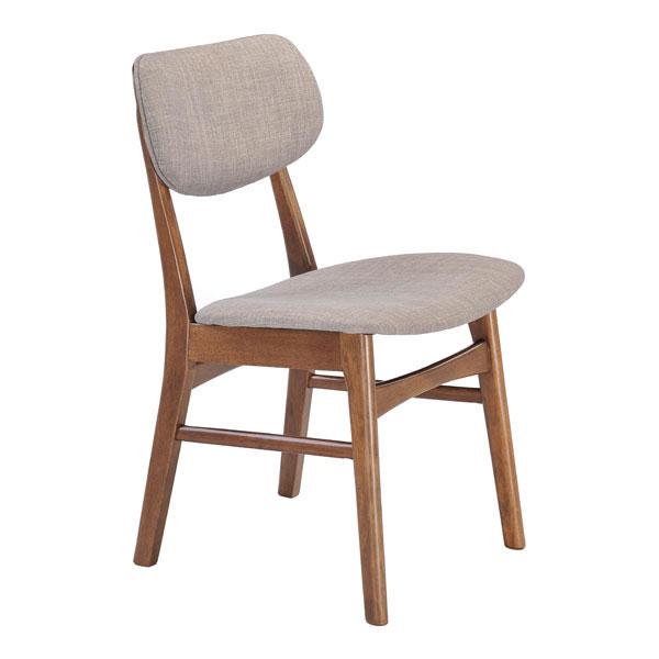 "19.3"" X 20"" X 30.9"" 2 Pcs Dove Gray Linen Polyblend Rubberwood Dining Chair"