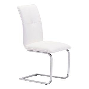 "17"" X 23.4"" X 37"" 2 Pcs White Leatherette Chromed Steel Dining Chair"