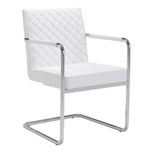 """22"""" X 23"""" X 33.9"""" 2 Pcs White Leatherette Chromed Steel Dining Chair"""