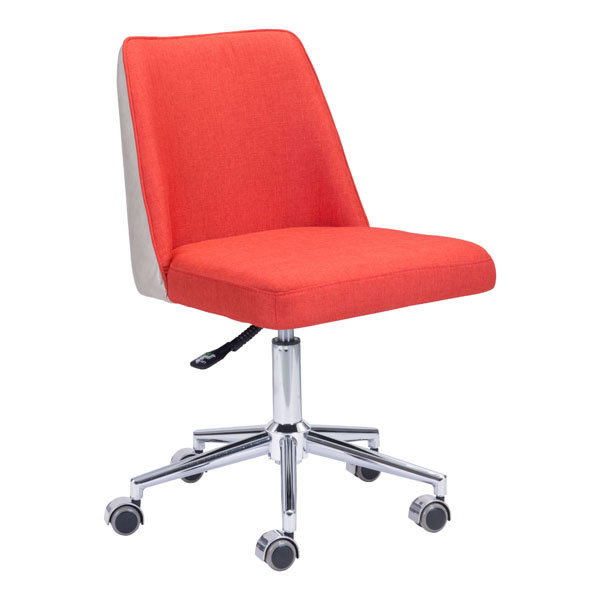 "24"" X 24"" X 35.8"" Orange/Beige Polyblend Office Chair"