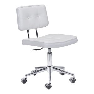 """22.4"""" X 22.4"""" X 35.8"""" White Leatherette Office Chair"""