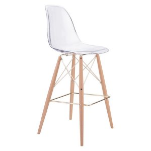 """20.3"""" X 21.7"""" X 44.3"""" Polycarbonate Metal And Beech Wood Bar Chair"""