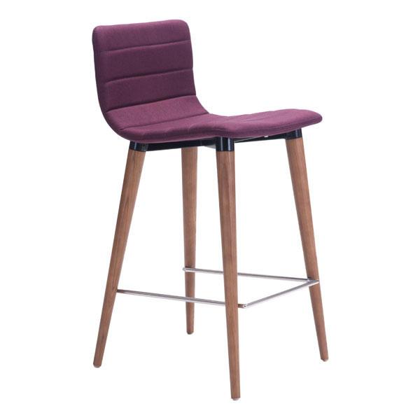 "16"" X 18.9"" X 34.3"" 2 Pcs Purple Polyblend Counter Chair"