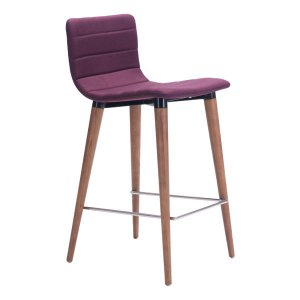 Set of 2 Purple Polyblend Counter Height Chairs