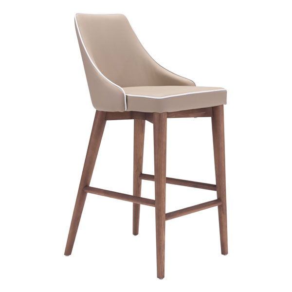 """18"""" X 19.7"""" X 37"""" Beige Leatherette Counter Chair"""