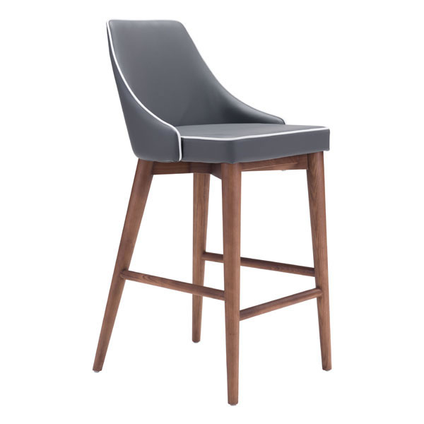 """18"""" X 19.7"""" X 37"""" Dark Gray Leatherette Counter Chair"""