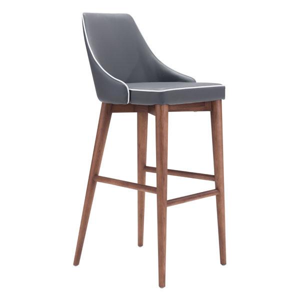 Bar Chair Dark Gray - Leatherette Powder Coated Metal, Solid Wood