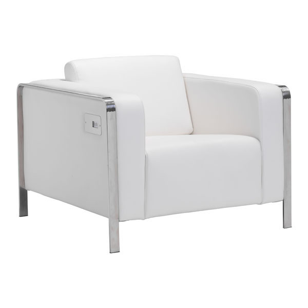 Arm Chair White - Leatherette Stainless Steel