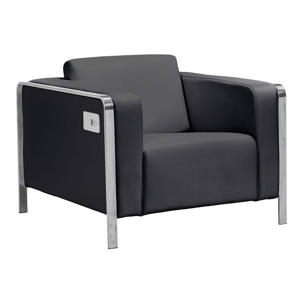 Arm Chair Black - Leatherette Stainless Steel