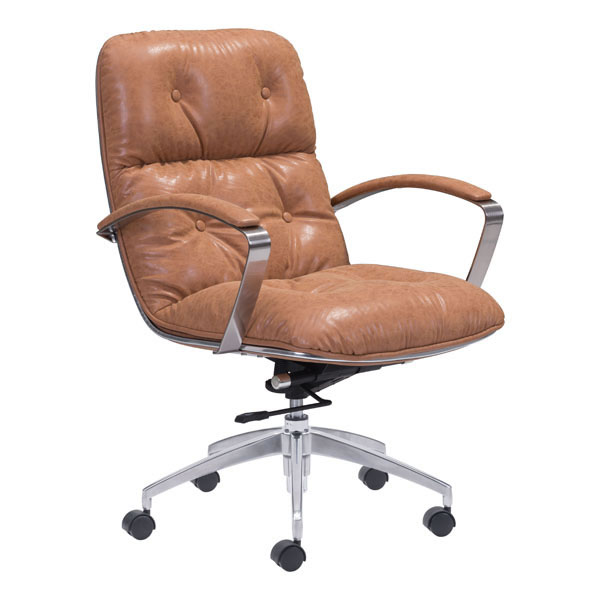 "27.6"" X 27.6"" X 41"" Coffee Vintage Leatherette Office Chair"