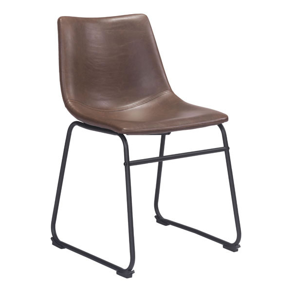 Dining Chair Vintage Espresso - Leatherette Plywood, Metal