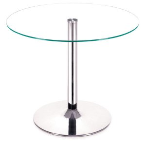 Dining Table - Tempered Glass Chromed Steel