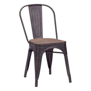 Rustic Elm Wood Top Set of 2 Chair