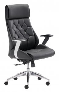 "28.7"" x 29"" x 46.6"" Black, Leatherette, Chromed Steel, Office Chair"