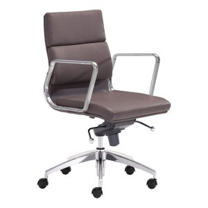 """21"""" X 26"""" X 39"""" Espresso Leatherette Low Back Office Chair"""