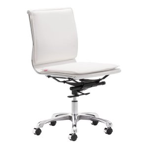 """23"""" X 23"""" X 40"""" White Leatherette Armless Office Chair"""
