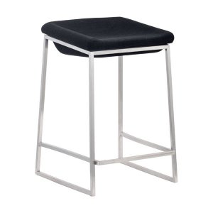 "15.7"" X 18"" X 25.6"" 2 Pcs Dark Gray Polyblend Counter Stool"