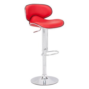 """18.7"""" X 18.3"""" X 40.9"""" Red Leatherette Chromed Steel Bar Chair"""