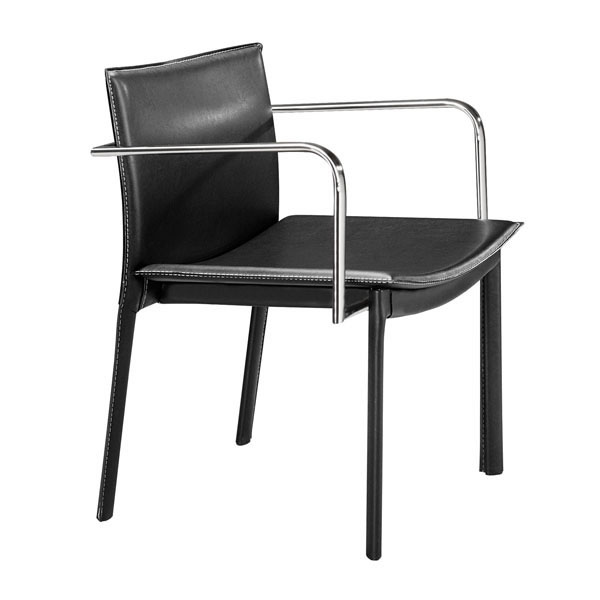 Conference Chair Black (Set Of 2) - Leatherette Chromed Steel
