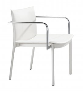 "24"" x 22"" x 28"" White, Leatherette, Chromed Steel, Conference Chair - Set of 2"