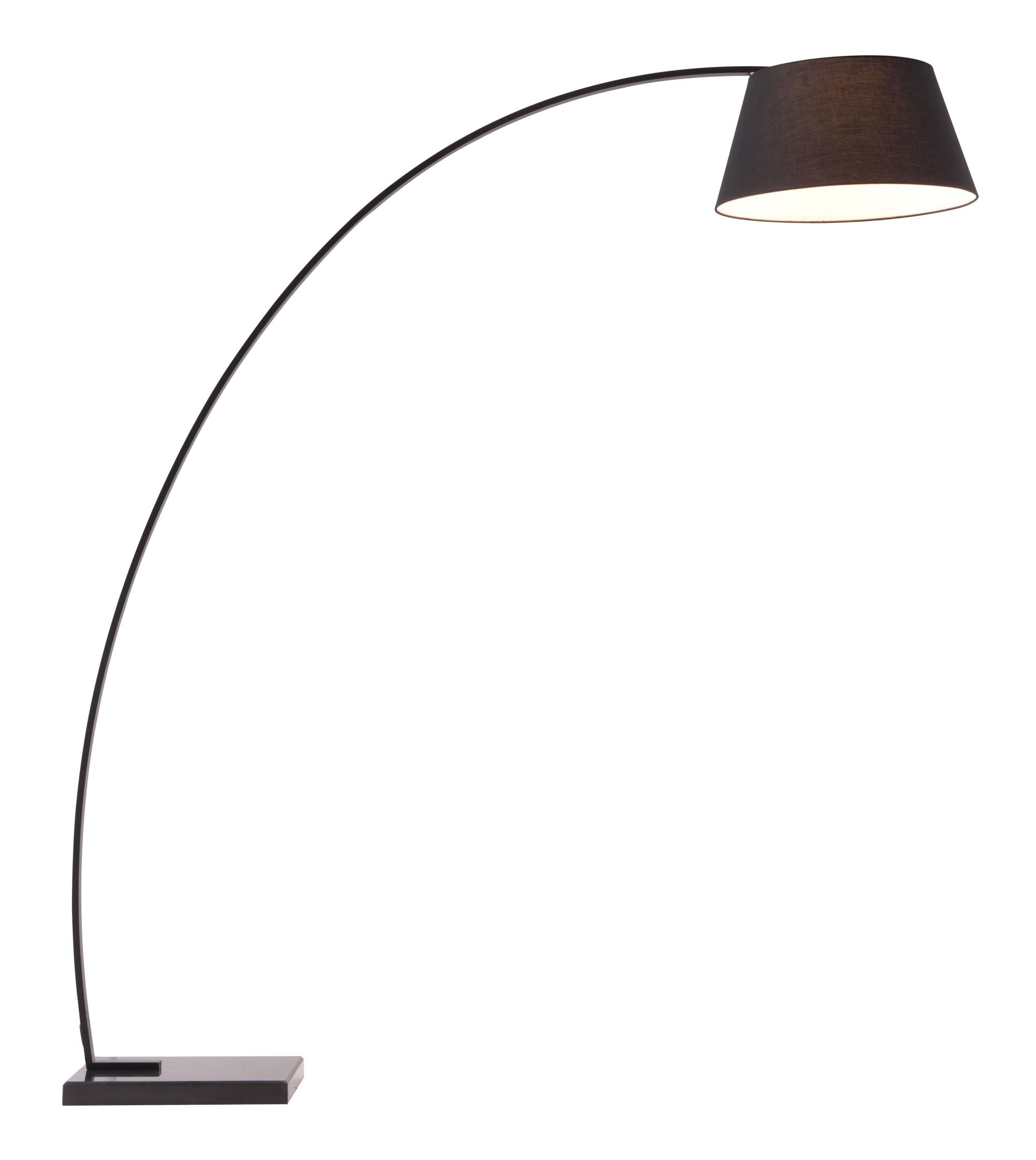 "66.9"" x 19.7"" x 74.8"" Black, Fabric, Metal & Marble, Floor Lamp"
