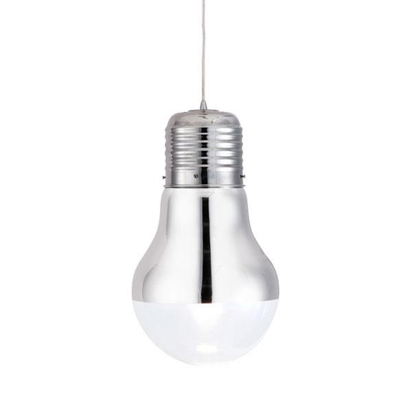 "11"" X 11"" X 19.3"" Glass Chrome Ceiling Lamp"