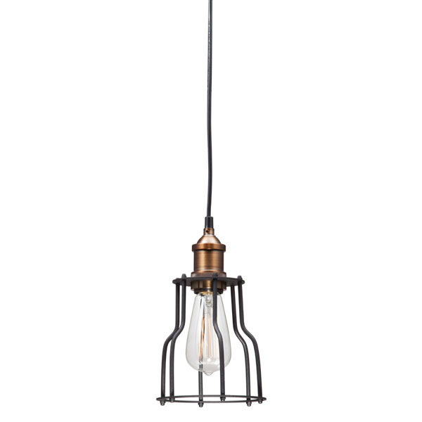 """5.9"""" X 5.9"""" X 10"""" Black And Copper Metal Ceiling Lamp"""