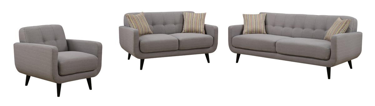 Gray 3pc Polyester Fabric Sofa, Love Seat and Arm Chair Living Room Set