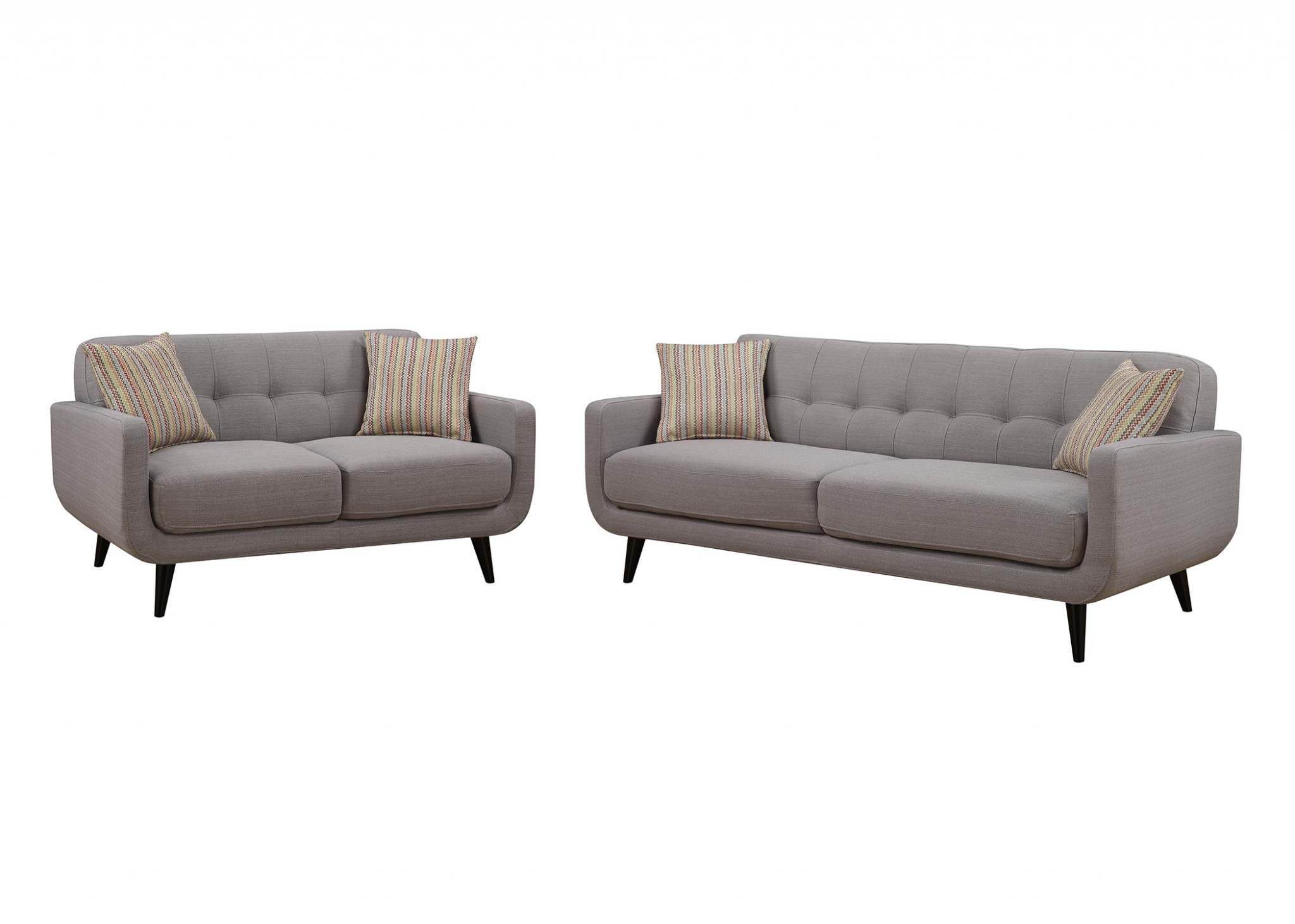 Gray 2pc Polyester Fabric Sofa and Love Seat Living Room Set