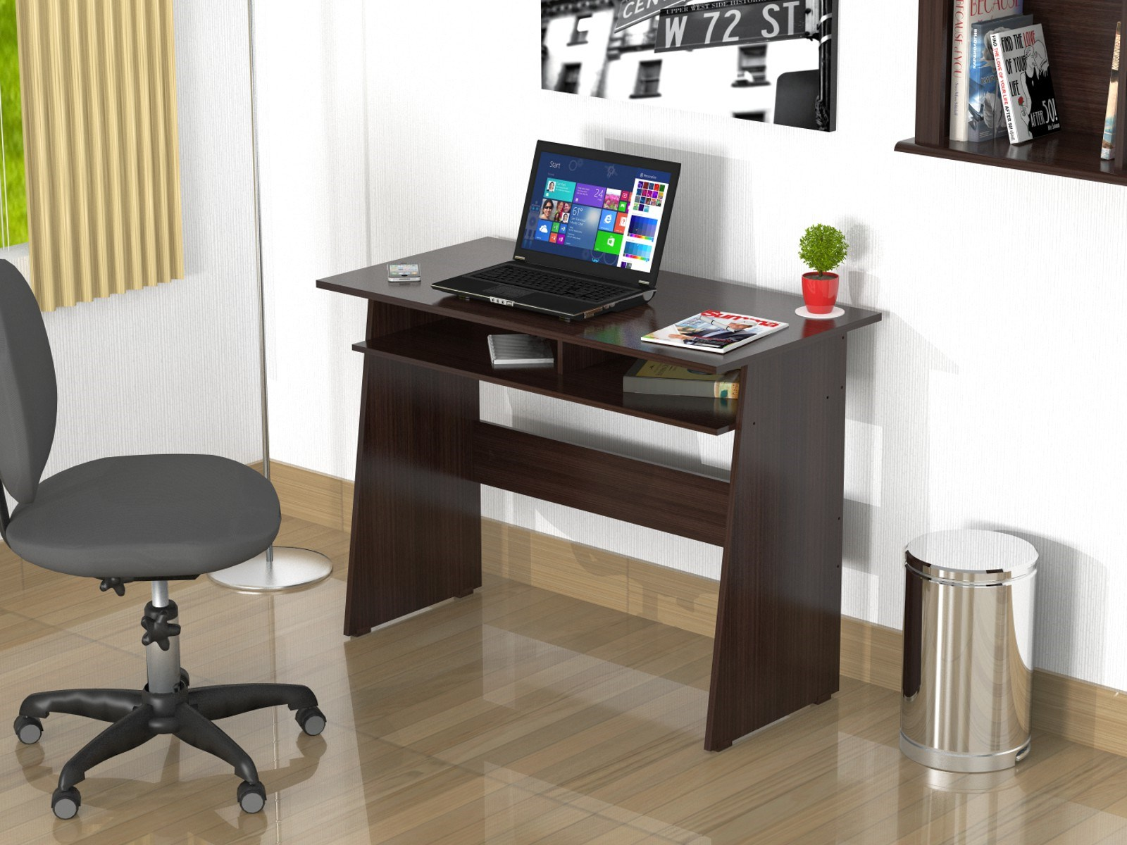 Writing Desk with Storage Area - Melamine /Engineered wood