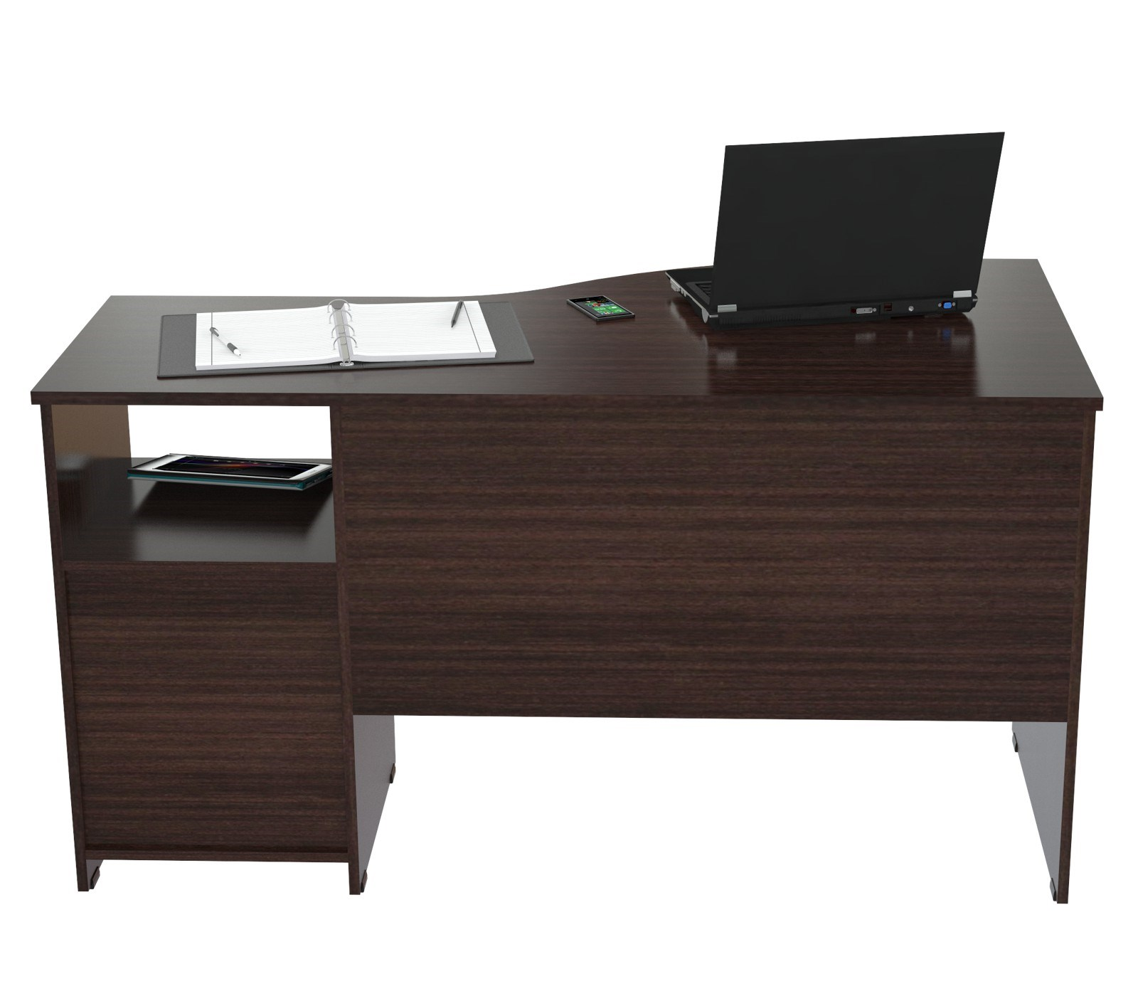 "29.5"" Espresso Melamine and Engineered Wood Curved Top Desk"